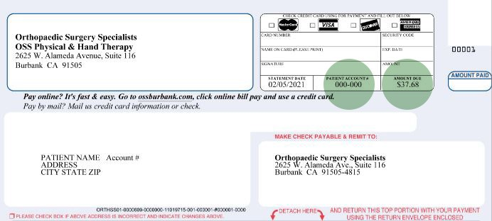 image example of the billing statement. Green circles in the top right corner highlight the Patient Account Number and Amount Due line items that appear on the physical, mailed billing statement that the patient will need to pay a bill online.